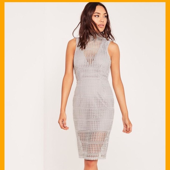 Missguided Dresses & Skirts - Missguided High Neck Lace Midi Dress NWOT